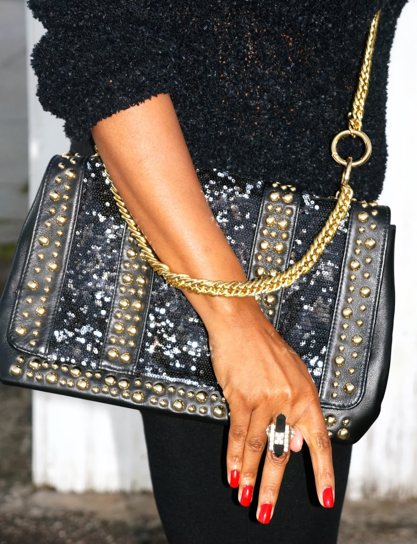 halston studded gold sequin purse