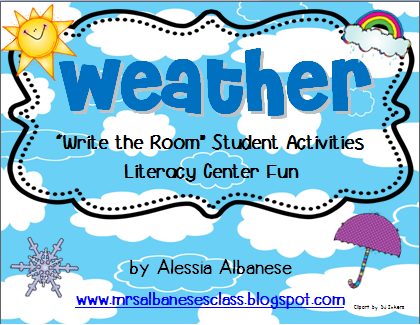 http://www.teacherspayteachers.com/Product/Write-the-Room-Literacy-Center-Weather-758311