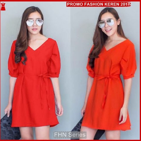 FNH199 Dresses ala LiLiana SW Dress Merah Crep