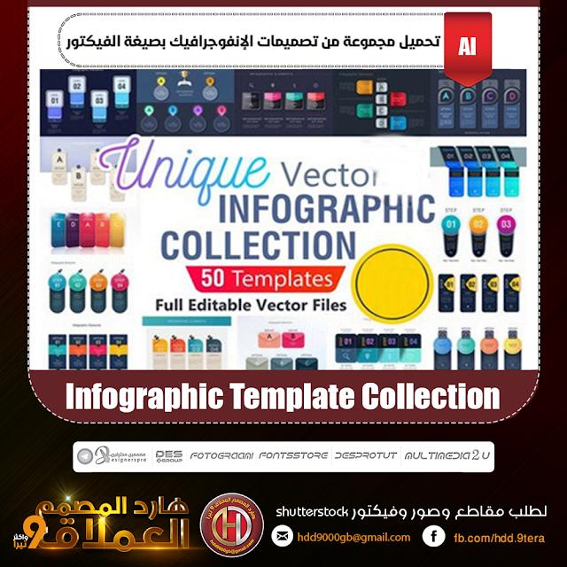 تحميل مجموعة من تصميمات الإنفوجرافيك بصيغة الفيكتور Infographic Template Collection