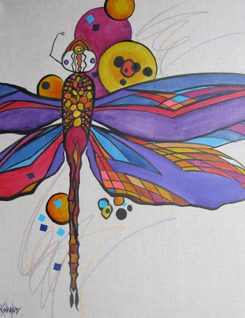 Abstract Paintings of Dragonflies