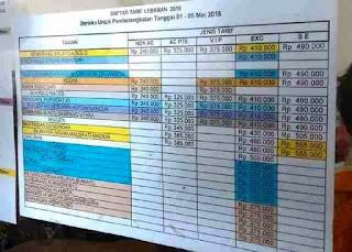 daftar tarif lebaran bus rosalia Indah