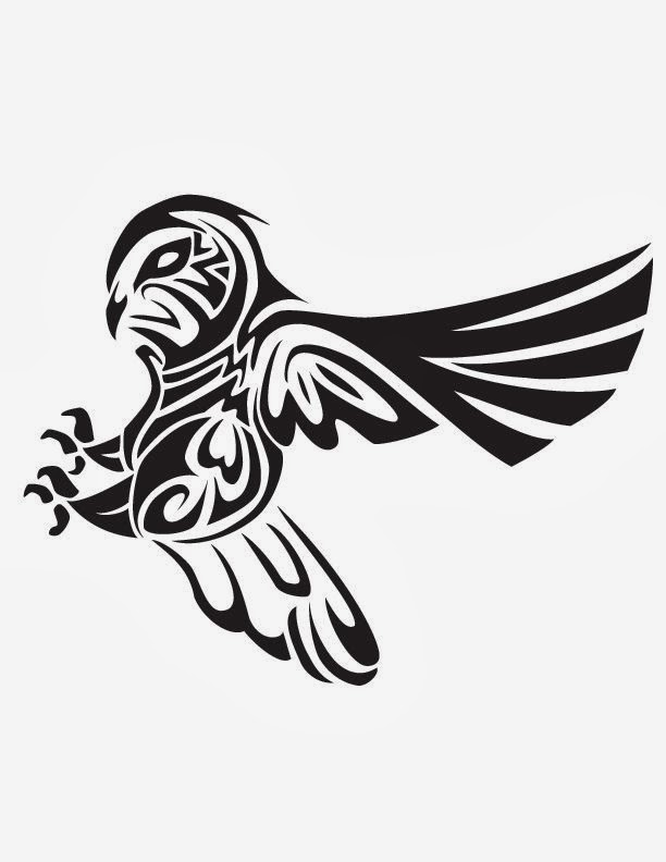 Ηunting owl tribal tattoo stencil