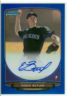 Eddie Butler Colorado Rockies Pitcher Bowman Chrome Auto 2013 Blue Ref