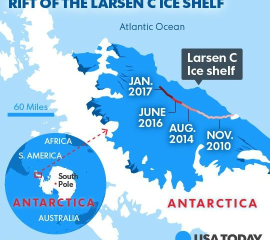 Breaking of Larsen C Ice Shelf in Antarctica