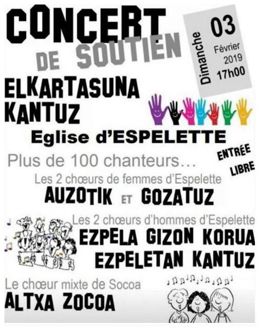 Concert de soutien Elkartasuna kantuz Espelette 2019