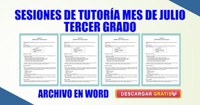 SESIONES DE TUTORÍA MES DE JULIO TERCER GRADO