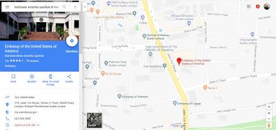 Peta Kedutaan Amerika Syarikat di Malaysia