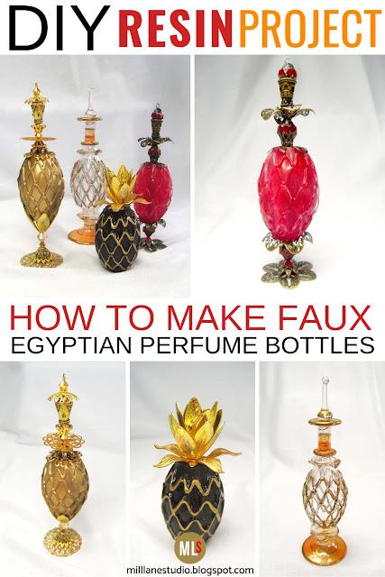 How to make Egyptian glass perfume bottles from resin inspiration sheet.