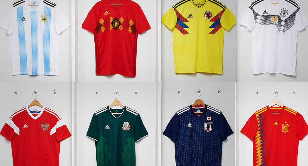 All Adidas 2018 World Cup home jerseys were launched today. Each Adidas 2018  World Cup home kit brings back classic designs of the past. 0c5f8bc495bf