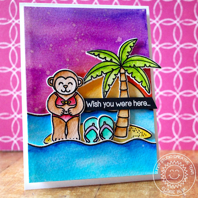 Sunny Studio Tropical Monkey Watercolor Card by Eloise Blue (using Island Getaway stamps and Wavy Border dies).