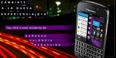"""BlackBerry lanza hoy su promoción """"Cámbiate a Q10"""", sólo para los primeros 500 clientes que se registren en el sitio web www.cambiateaQ10.com del 5 al 7 de julio para cambiar sus BlackBerry usados (únicamente los modelos BlackBerry® Bold™ 9900, BlackBerry® Torch™ 9800, BlackBerry® Torch™ 9810, y BlackBerry® Torch™ 9860) por un nuevo smartphone BlackBerry Q10 por tan sólo Bs. 5,600 más IVA. Adicionalmente los interesados en esta promoción deberán tener un plan activo BlackBerry full con cualquiera de las operadoras de telefonía celular en el país. BlackBerry Q10 es un Smartphone construido con precisión, que ofrece un desempeño sobresaliente, tiene"""