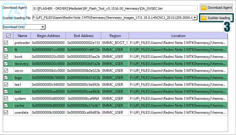 Unbrick Redmi Note 3 MTK (hennessy) via SPFlashtool