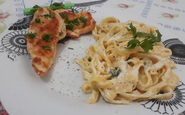 Fettuccine con Petto di Pollo - receita de macarrão gourmet por Paulo Sebin
