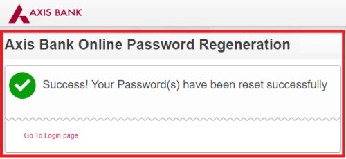 reset axis bank login password