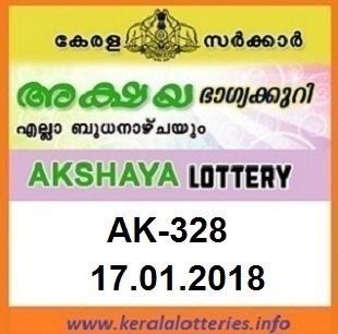 AKSHAYA (AK-328) LOTTERY RESULT  ON JANUARY 17, 2018