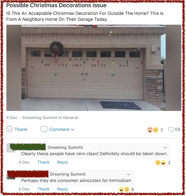 Nextdoor App Christmas Garage Letter Prank and outrage. marchmatron.com