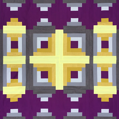 yellow and purple log cabin and courthouse steps quilt