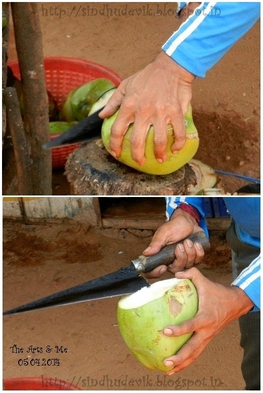 Opening A Tender Coconut With A Special Knife