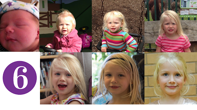 7 photographs of my 6 year old daughter taken each year on her birthday.