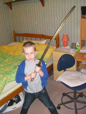 boy with samurai sword