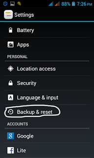 Factory reset an android mobile from the settings menu