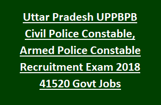 Uttar Pradesh UPPBPB Civil Police Constable, Armed Police Constable Vacancy Recruitment Exam 2018 41520 Govt Jobs