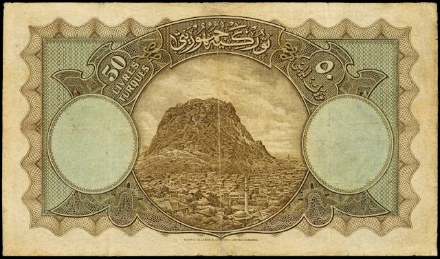 Turkey Currency 50 Turkish Lira banknote 1927 A view from Afyon