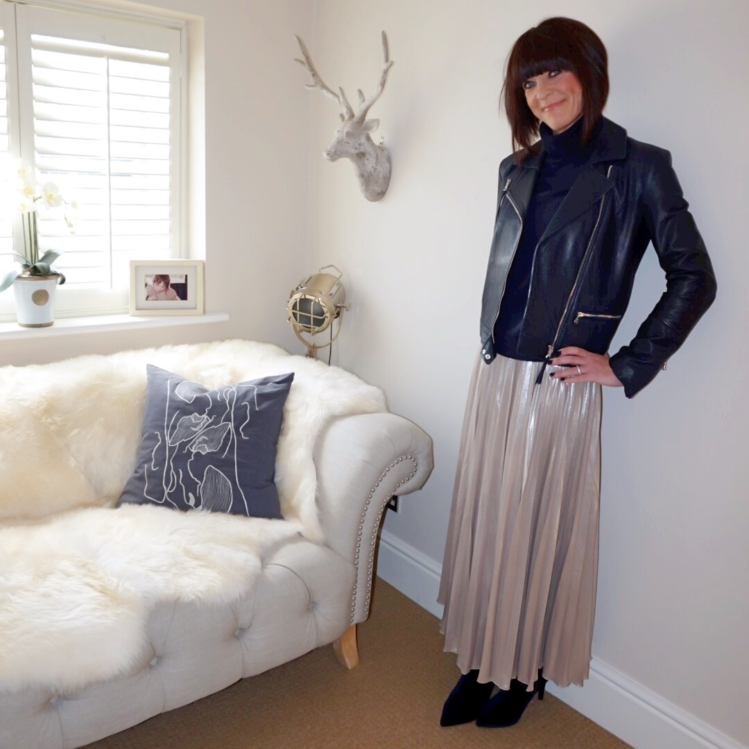 my midlife fashion, massimo dutti navy leather biker jacket, marks and spencer pure cashmere roll neck jumper, debenhams jenny packman metallic gold pleated maxi skirt, marks and spencer side zip stiletto heel ankle boots