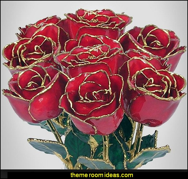 Love Forever Long Stem Dipped 24k Gold Foil Trim red Roses