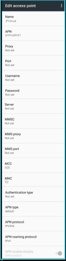 New iPrimus APN Settings android