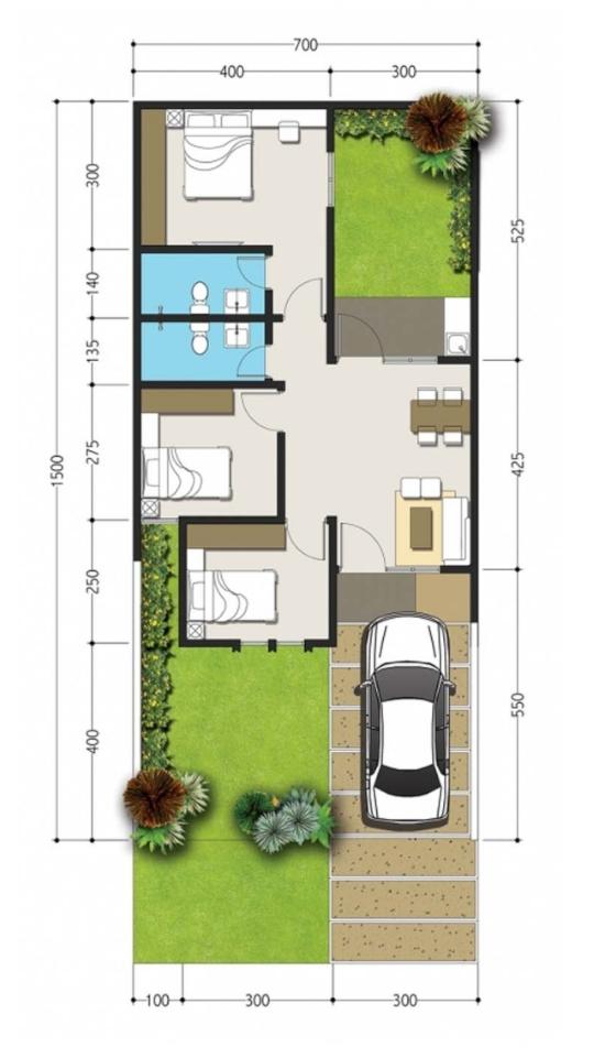 denah rumah minimalis ukuran 7x15 meter 3 kamar tidur 1 lantai