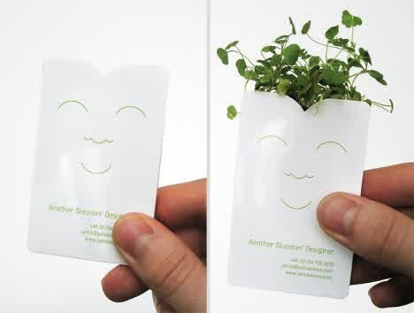 pot bunga asli dari kartu nama