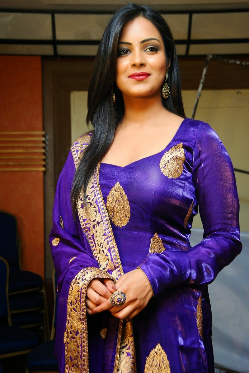 South indian dress churidar and top in violet color model actress click here voltagebd Images
