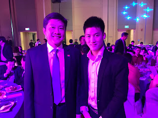 Alaric Ong with the minister for education in Singapore