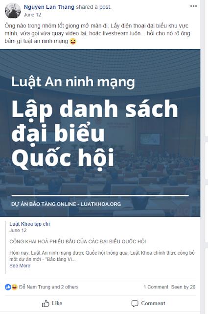 Nguyễn Lân Thắng bằng mọi giá phải chống Luật An ninh mạng