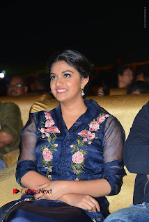 Actress Keerthi Suresh Stills in Blue Long Dress at Nenu Local Audio Launch  0037.JPG