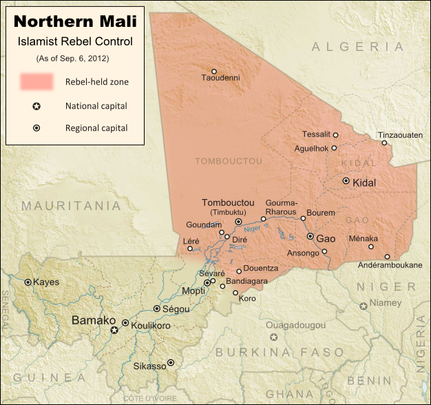 Map of Islamist rebel control in northern Mali as of September 2012
