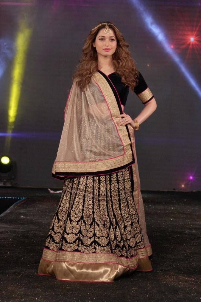 Beautiful Marathi Model Tamannaah In Black Dress Fashion Show New Delhi