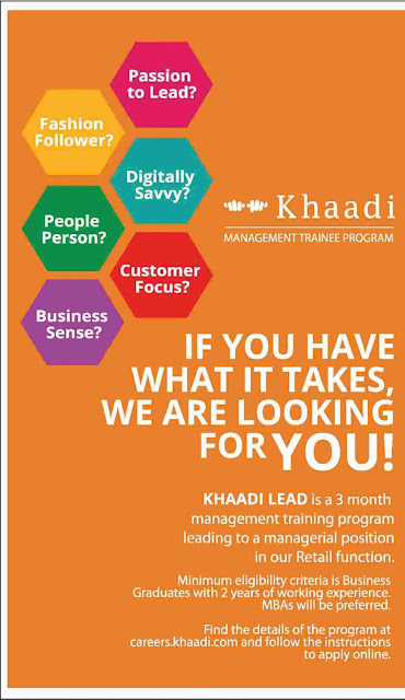 Khaadi Management Trainee Program 2016 for MBAs Jobs in Pakistan