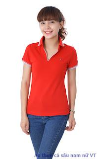 Áo thun nữ cổ bẻ màu đỏ tươi