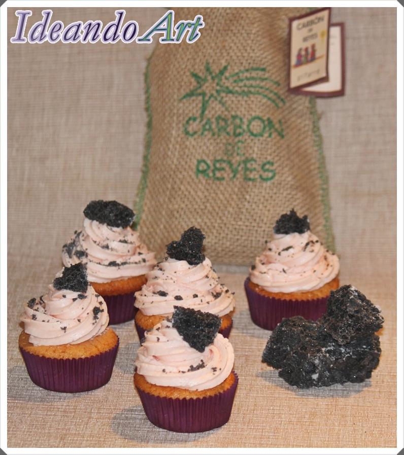 Cupcakes fresa y carbón