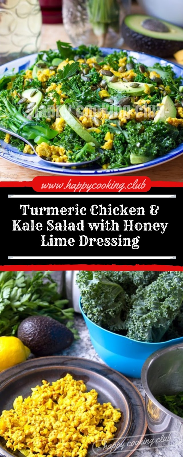 Turmeric Chicken & Kale Salad with Honey Lime Dressing