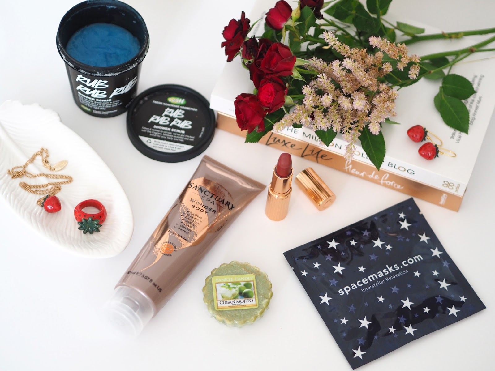 Loves List July, Katie Kirk Loves, UK Blogger, Beauty Blogger, Fashion Blogger, Beauty Favourites, Lush Cosmetics, Charlotte Tilbury, Sanctuary Spa, Spacemasks Eye Masks, Yankee Candle, And Mary Jewellery, Summer Favourites