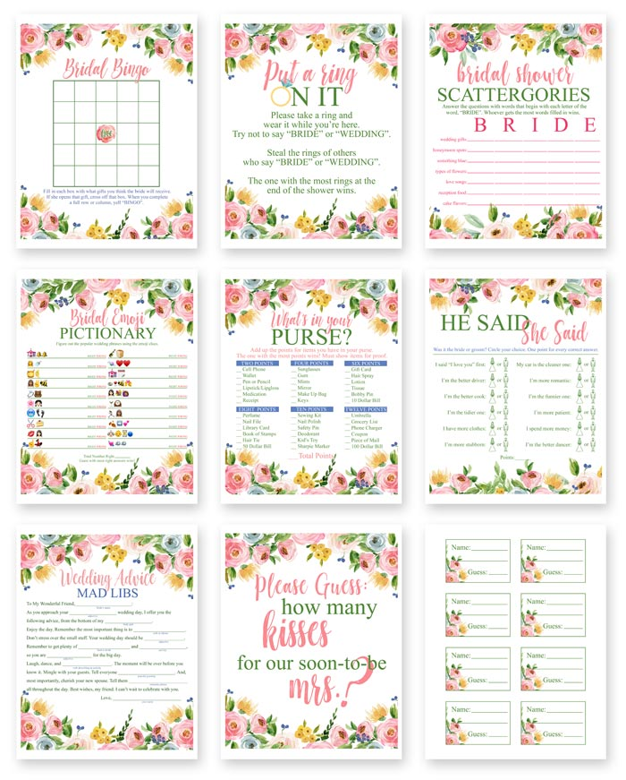 image regarding What's in Your Purse Free Printable titled No cost Printable Bridal Shower Online games i ought to be mopping the