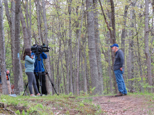 interview with newscaster in the woods