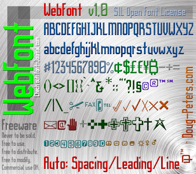 WebFont Character Preview (limited number of characters displayed).