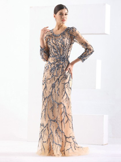 Sheath/Column Scoop Neck Tulle Sweep Train with Sequins Prom Dress