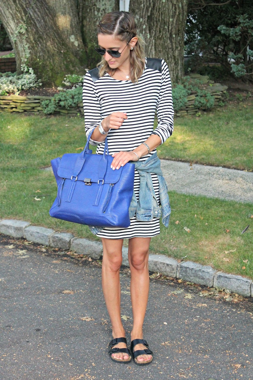 wearing birkenstocks with stripes
