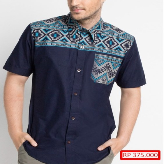 Model Baju Batik Pria Kombinasi Polos Model Baju